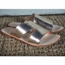 Nib New 88 Anthropologie Gold Monica Leather Metallic Slide Sandals Size 10 Photo