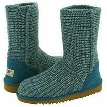 Nib New Girl's Ugg Australia Crochet Knit Boots Wasabi (Teal) Size 1 Photo