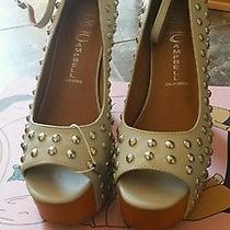 Nib New Jeffrey Campbell Grey Shoes Size 38eu 8 Leather Studs Heels Platform Photo