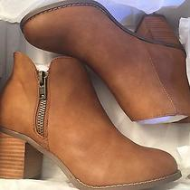 Nib New Torrid Cognac Faux Leather Zip Ankle Booties Boots Size 8w 8 Wide Width Photo