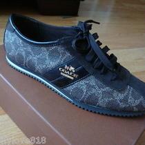 Nib New Women Coach Ivy Logo Signature Sneakers Shoes Black/chestnut Size 8 Photo