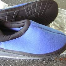 Nib New Women's Blue Slippers House Shoes - Size 5 6 (S) Indoor Outdoor Sole Photo