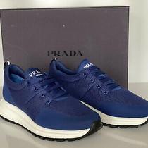 Nib Prada Men's  Blue Knitted Sneakers 8 Us (Prada 7) 4e3499 Photo