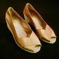 Nib Ralph Lauren Cecilia New Gold Shantung Wedge Espadrille Shoes Size 10b Photo