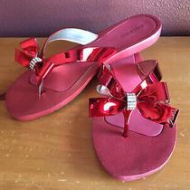 Nib Red Guess Flip Flops Sandals Sz 9 Bling Photo