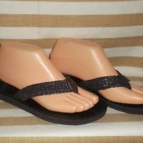 Nib Roxy Fiji Chocolate Brown Braid Flip Flop Thong Sandal 7 457p30of Slide Flat Photo