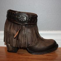 Nib Rtl 318 Freebird by Steven Chief Brown Leather Fringed Ankle Boots- Size 9 Photo