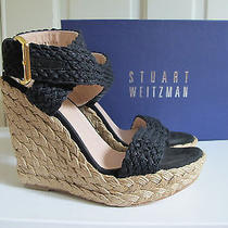 Nib Stuart Weitzman Alex Espadrille Wedge Sandal Nero Black Crochet Sz 8.5 Photo