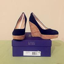 Nib Stuart Weitzman Corkswoon Wedge Pump as Wore by Kate Middleton-Size 6.5 Blue Photo