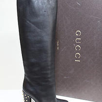 Nib Sz 11 / 41 Gucci Black Leather Jacquelyne Spike Heel Tall Pull on Boot Shoes Photo