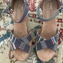 Nib Toms Strappy Wedge Denim Stripe Sandals Sz 8.5 Photo