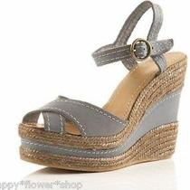 Nib Topshop Wicket Leather Stitch Wedge Sandals  Eur 40 Uk 7 Us 9.5 Photo
