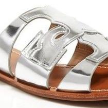 Nib Tory Burch Anchor T Leather Slide Sandals Silver Slide on Sz 6 Metallic Logo Photo