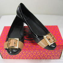 Nib Tory Burch Angelina Belt Buckled Ballet Flat 7.5 Black/tan W/gold Logo Shoe Photo