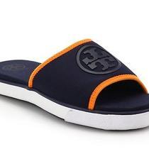 Nib Tory Burch Blue Neoprene Logo Slide Sandals Size 8 150 Photo