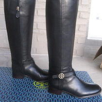 Nib Tory Burch Bristol Black Gold Leather Riding Boots Tall Size 8 Photo