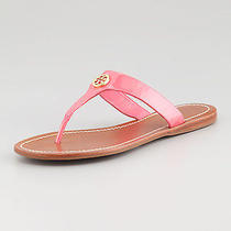 Nib Tory Burch Cameron Patent Logo Thong Sandals Shoes Bougainvillea Pink 8 M Photo