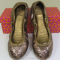 Nib Tory Burch Eddie Metallic Bronze Glitter Skimmer Ballet Flat Shoes Size 10 Photo