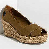 Nib Tory Burch Filipa Criss Cross Espadrille Platform Wedge Size 10 Olive Shoes Photo