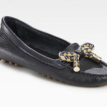 Nib Tory Burch Karl Navy Tumbled Leather Bow/gold Logo Driver Moccasin 9.5 Flats Photo