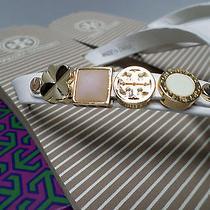 Nib Tory Burch Kiley Ivory Khaki Gold Leather Stud Flip Flops Sandals 9 Sold Out Photo