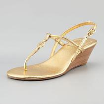Nib Tory Burch Leather Emmy Demi Wedge Thong Sandals Gold 9.5 M 39.5 M Photo