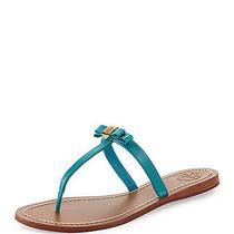 Nib Tory Burch Leighanne Bow Thong Sandals Aquarius Aqua Green Blue 9m 39b Photo