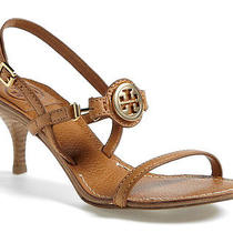 Nib Tory Burch Mira Strap Sandal Size 7 M Tan Leather/gold Logo Heel Shoes New Photo