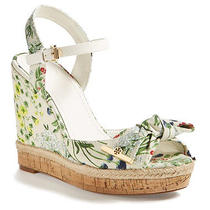 Nib Tory Burch Penny Logo Bow Espadrille Platform Wedge Sandal 9.5 M Watercolor Photo