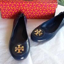 Nib Tory Burch Reva Ballet Flat Shoes Tumbled Patent Grain Dolphin Blue 8  235 Photo