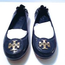 Nib Tory Burch Shoes Ballett Flats Dolphin Blue Reva Tumble Patent Leather Sz 6 Photo