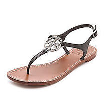 Nib Tory Burch Violet Patent Leather Logo Thong Sandals Shoes Black 7 M Photo