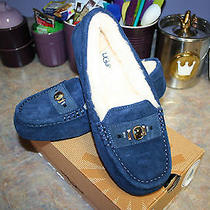 Nib Ugg Ansley Chunky Swarovski Crystals Navy Blue Slippers Size 7/38 M 135 Photo