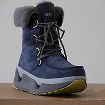 Nib Ugg Auden Navy Waterproof Leather Sheepskin Snow Boots S. 10 8110014  Photo