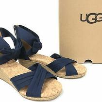 Nib Ugg Australia 1092441 Traci Espadrille Bow Navy Wedge Sandal Shoes Size 9m Photo