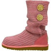 Nib Ugg Australia Girl's Crochet Cardy Boots Muted Lilac Seashell Rose Pink 11  Photo