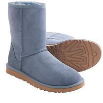 Nib Ugg Australia Woman's Dolphin Blue Suede Leather Classic Short Boots Size 8 Photo