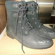 Nib   Ugg Azaria Exposed Fur Black Water-Resistant Leather Combat Boots Size 10 Photo
