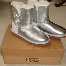 Nib Ugg Bailey Button Boots Sterling-Silver-Metal  Size Big Kids 6 or Womens 8 Photo