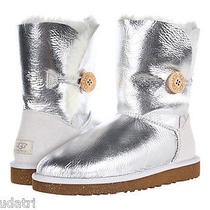 Nib Ugg Bailey Button Metallic Sterling Silver  Boot 6m  Sheepskin Lining New Photo