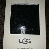 Nib Ugg Kids' Black S/m Rainboot Socks Shoe Size 13-3 Sock Size 6-8years Photo
