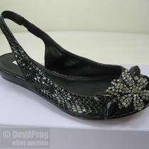 Nib Vera Wang Lavender Lyza Black Snake Crystal-Brooch Slingback Flat Us 6.5 New Photo
