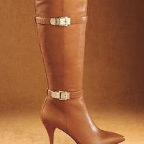 Nib Vince Camuto Oboy Leather Dark Amber High Heels Knee High Boots W/buckle 75 Photo