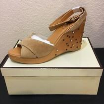 Nib Vintage Coach Leather Suede Rhinestone Studded Wedge Sandals Sz 9 Gorgeous Photo