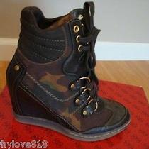 Nib Women Guess Marilu 3 Wedge Sneaker Camouflage Brown Leather 6.5 Photo