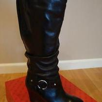 Nib Women Guess Myriam Wedge Boots Black 8.5 Photo