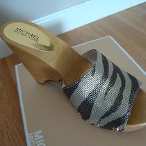 Nib Women Michael Kors Easton Mule Canvas Metallic Tiger Gold 9.5 Photo