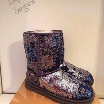 Nib Women's Ugg Australia Classic Short Sparkles Midnight Blue (Mdm) Boots Sz 7 Photo