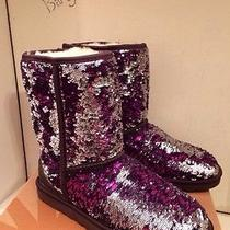 Nib Womens Ugg Australia Classic Short Sparkles Purple Velvet Boots Sz 10 New Photo