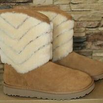 Nib Womens Ugg Tania Classic Short Shearling Cuff Bow Boots Chestnut 10 Photo